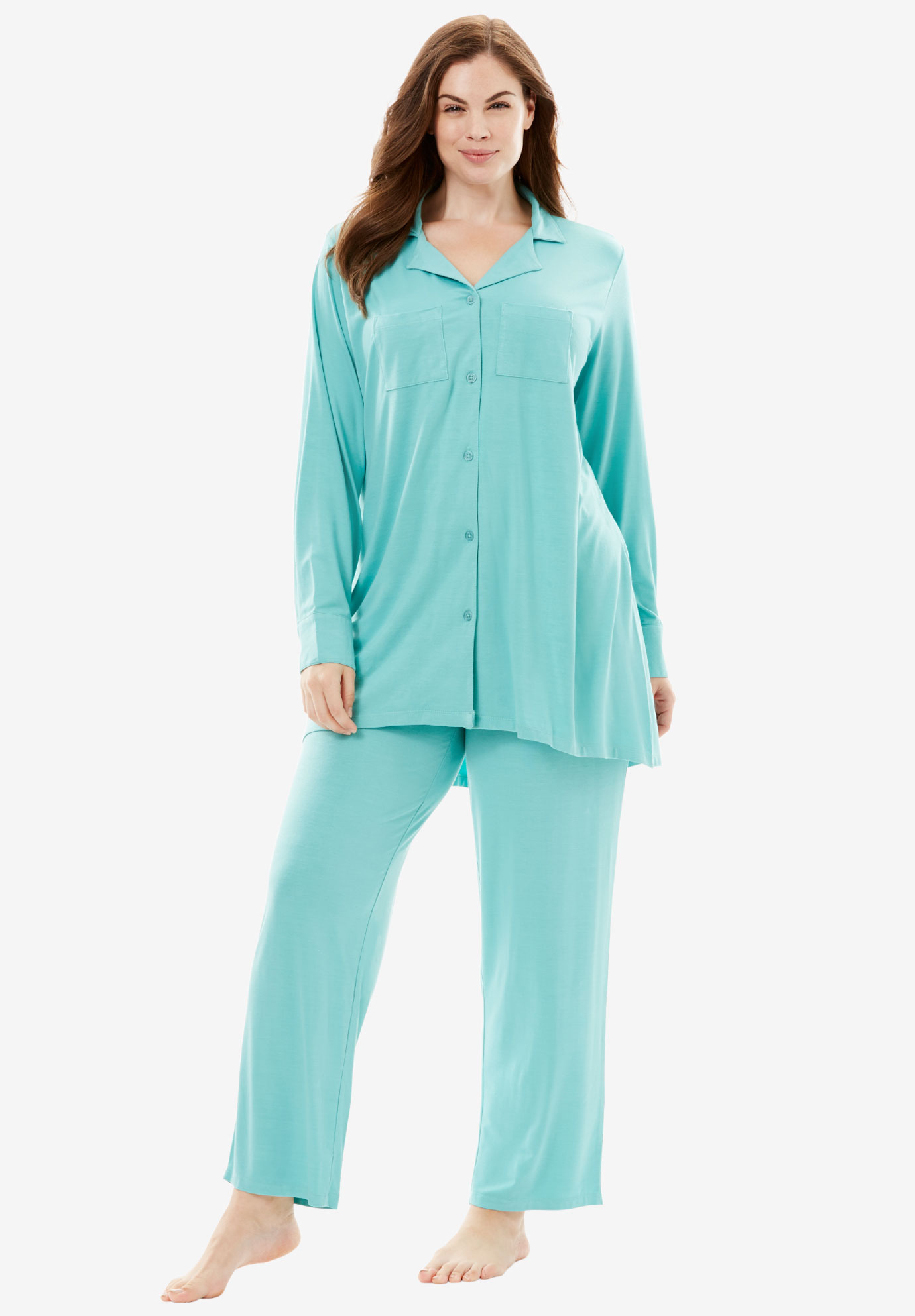 Downtime Sleepwear Solid PJ Set by Dreams & Co.®, AZURE, hi-res