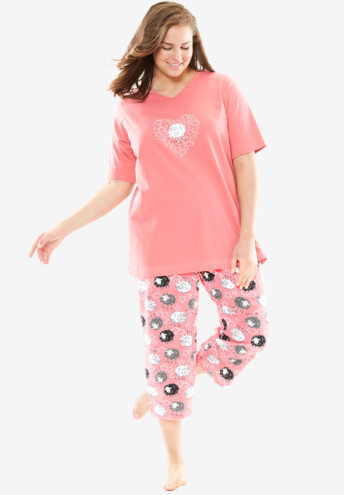 2-Piece Capri PJ Set by Dreams & Co®, BEGONIA SHEEP, hi-res