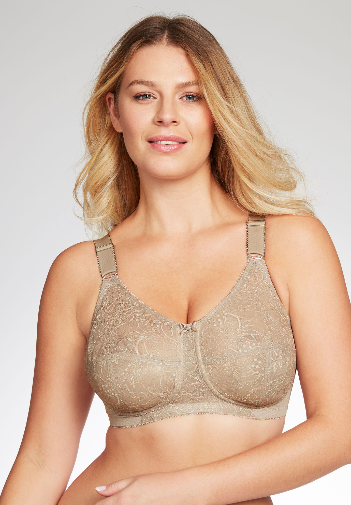 Comfort lift lace support wireless bra by Glamorise®, TAUPE, hi-res