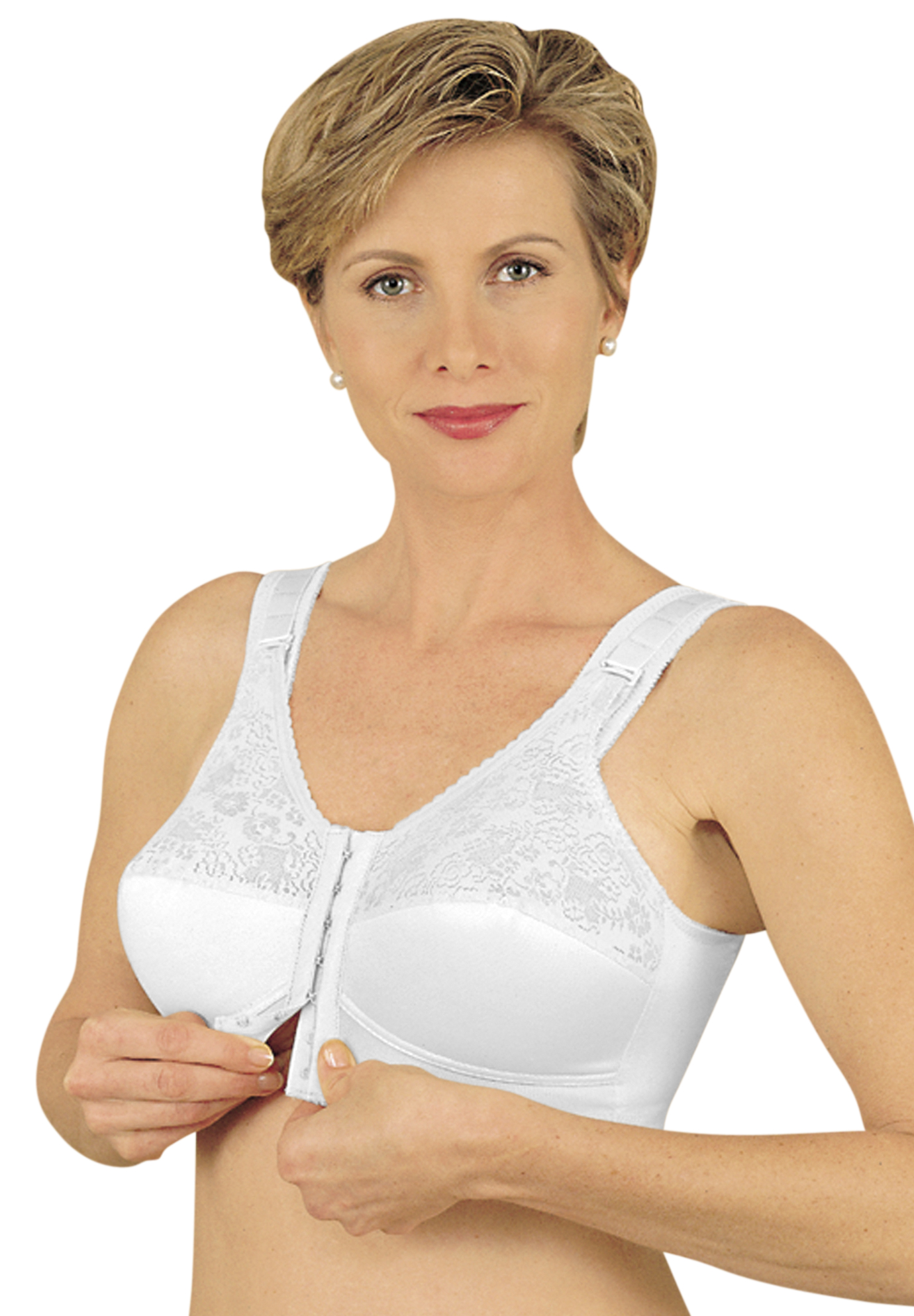 Front Hook Mastectomy Comfort Plus Bra by Jodee , WHITE, hi-res
