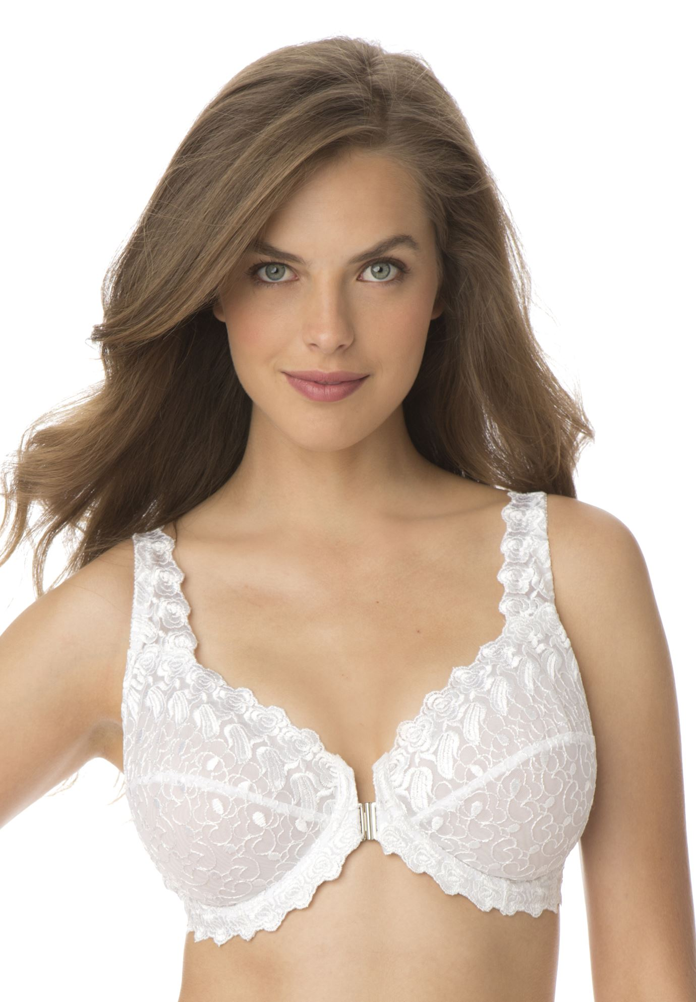 Embroidered Front Hook Underwire Bra by Amoureuse®, WHITE, hi-res