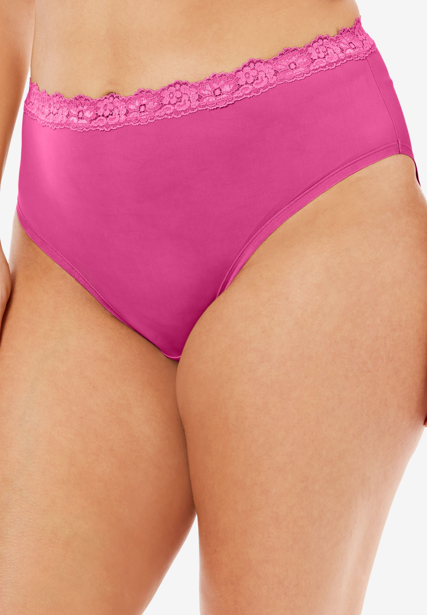 Lace-Trim High-Cut Microfiber Brief by Comfort Choice®, BRIGHT BERRY, hi-res