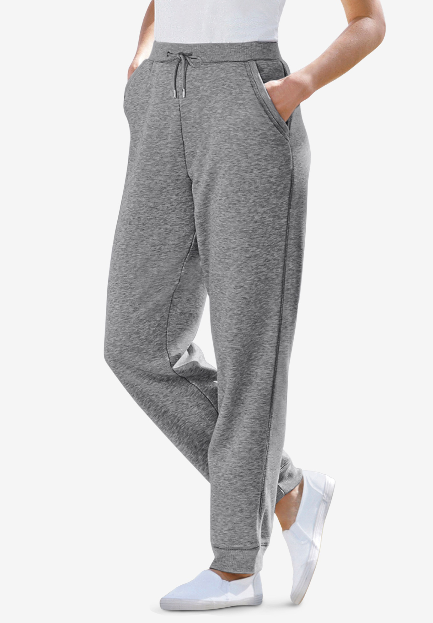 Pants, sweats with rib cuffs in fleece, MEDIUM HEATHER GREY, hi-res