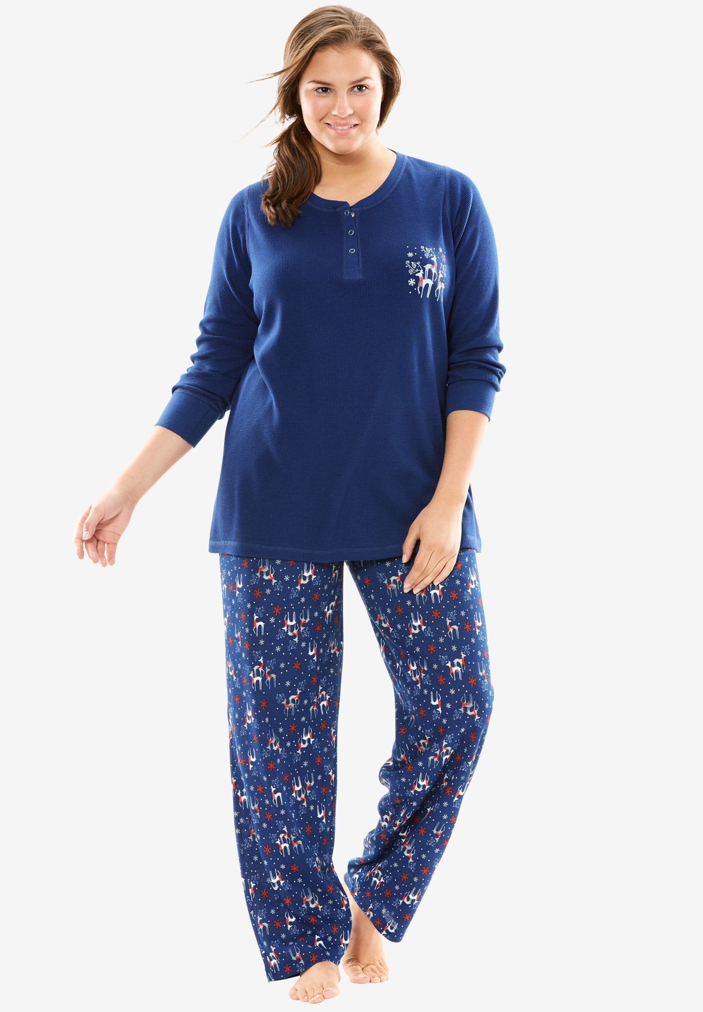 Printed thermal knit Henley pj set by Dreams & Co.®, EVENING BLUE REINDEER, hi-res
