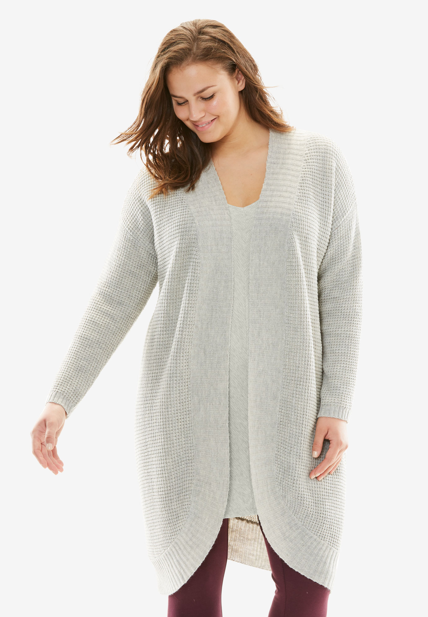 Sleep Cardigan With Cocoon Shape, HEATHER OATMEAL, hi-res