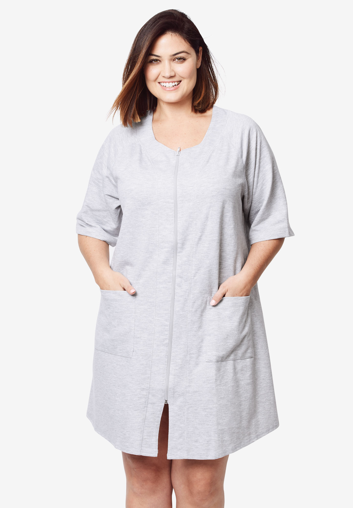 Short French Terry Robe by Dreams & Co®, HEATHER GREY, hi-res