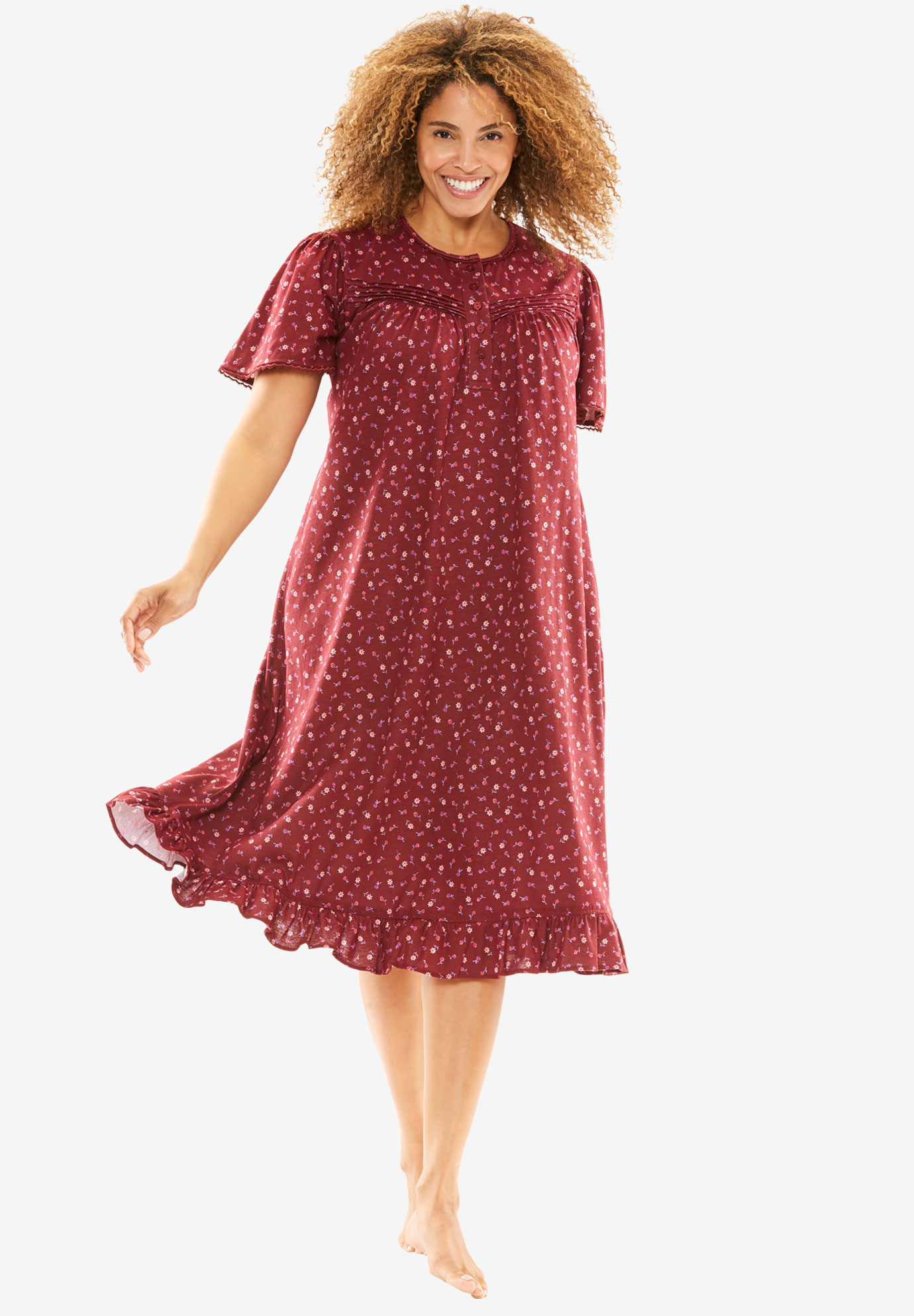 Cotton Print Nightgown by Dreams & Co.®, RICH BURGUNDY, hi-res