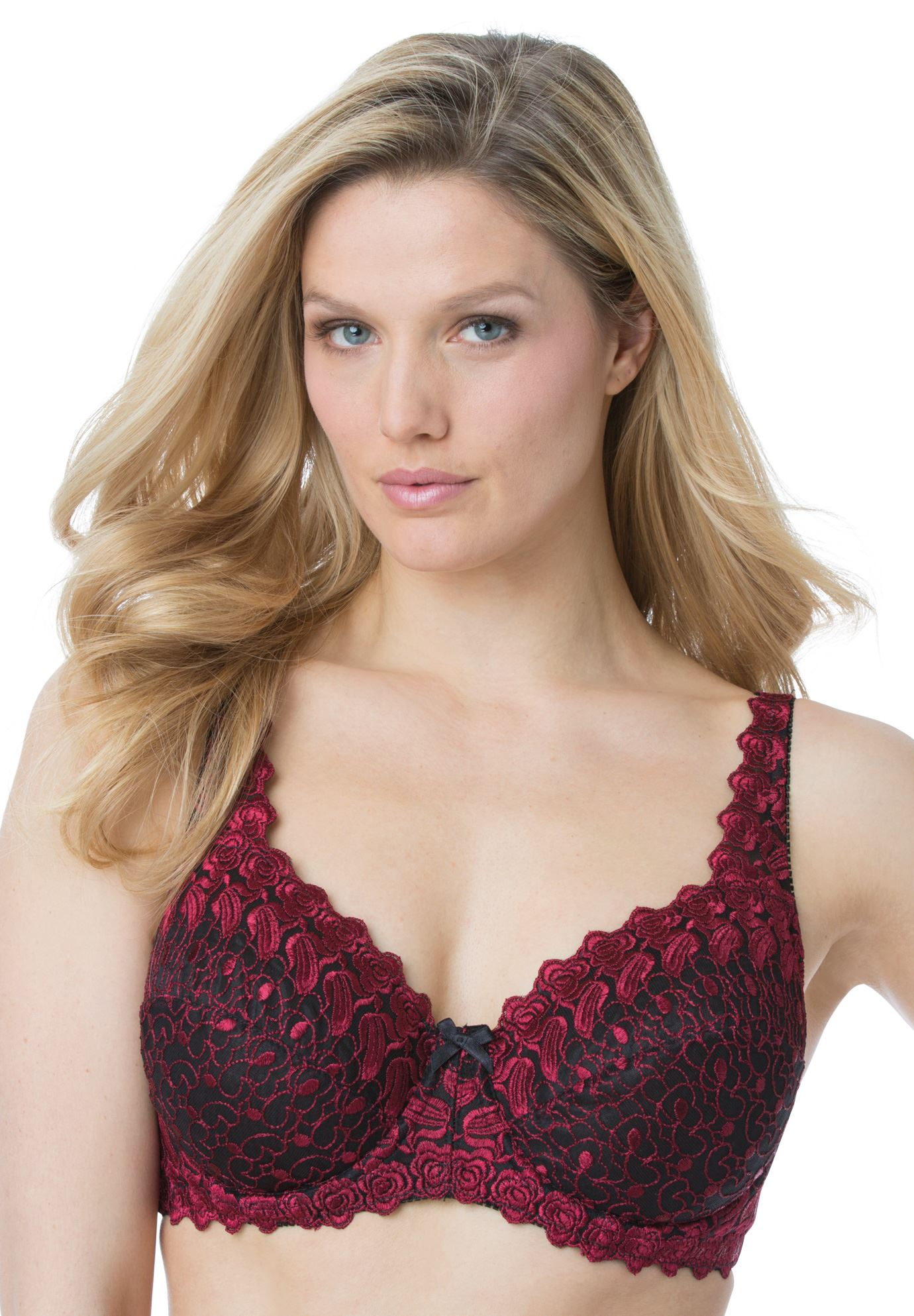 Back-Close Underwire Bra by Amoureuse®, BLACK POMEGRANATE