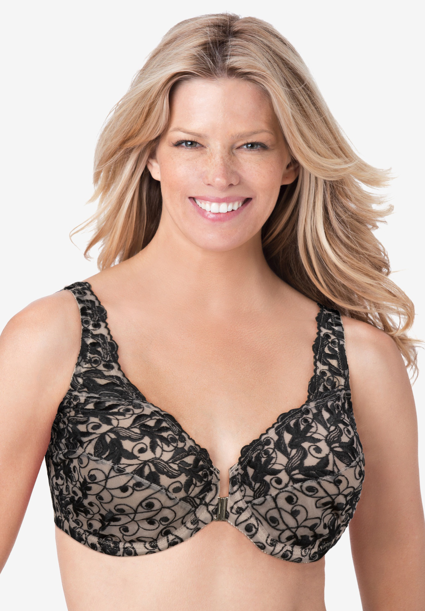Amoureuse Embroidered Underwire Bra with Front Closure, LIGHT TAUPE BLACK, hi-res