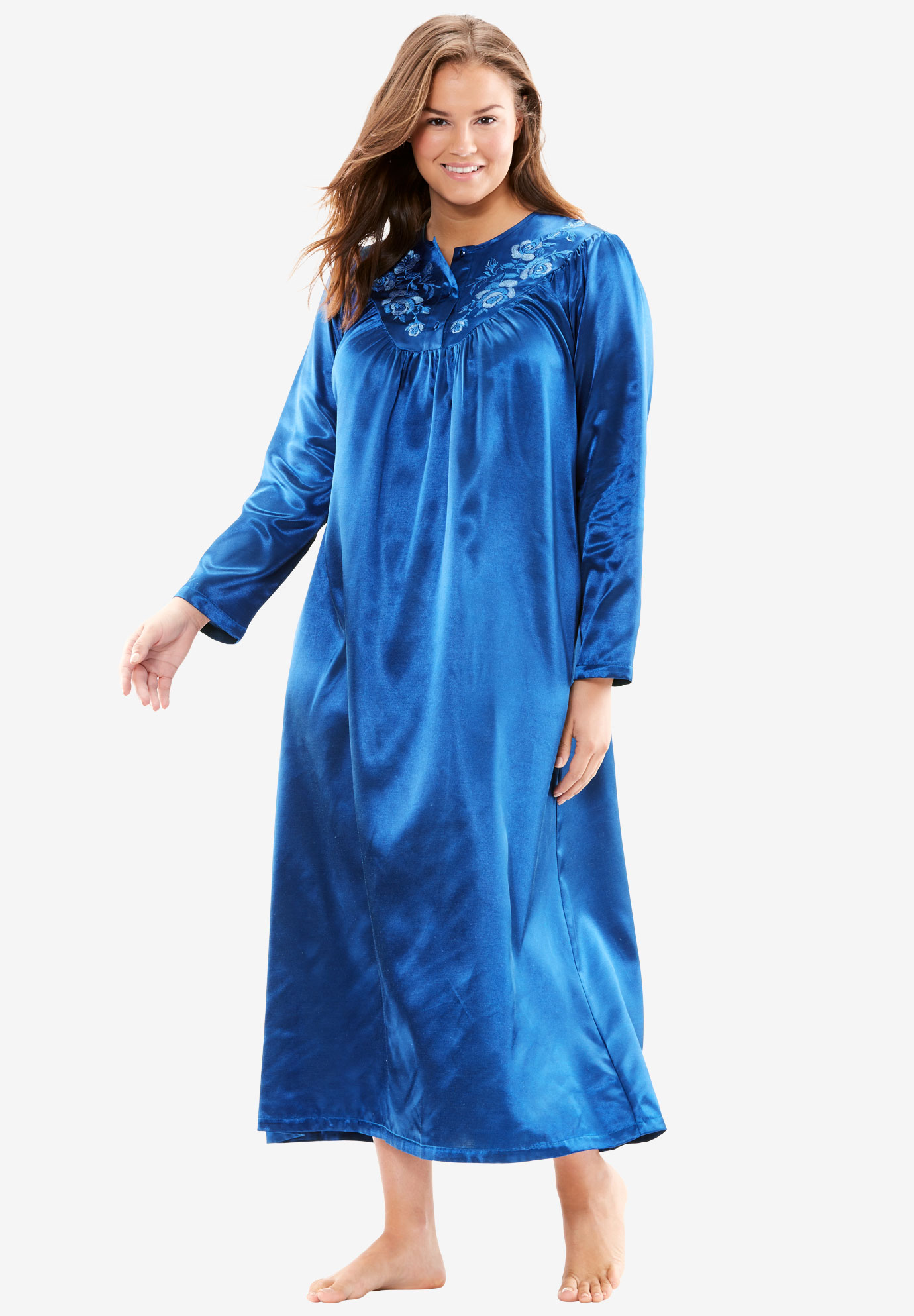 Brushed back satin night gown by Only Necessities®, TWILIGHT BLUE, hi-res