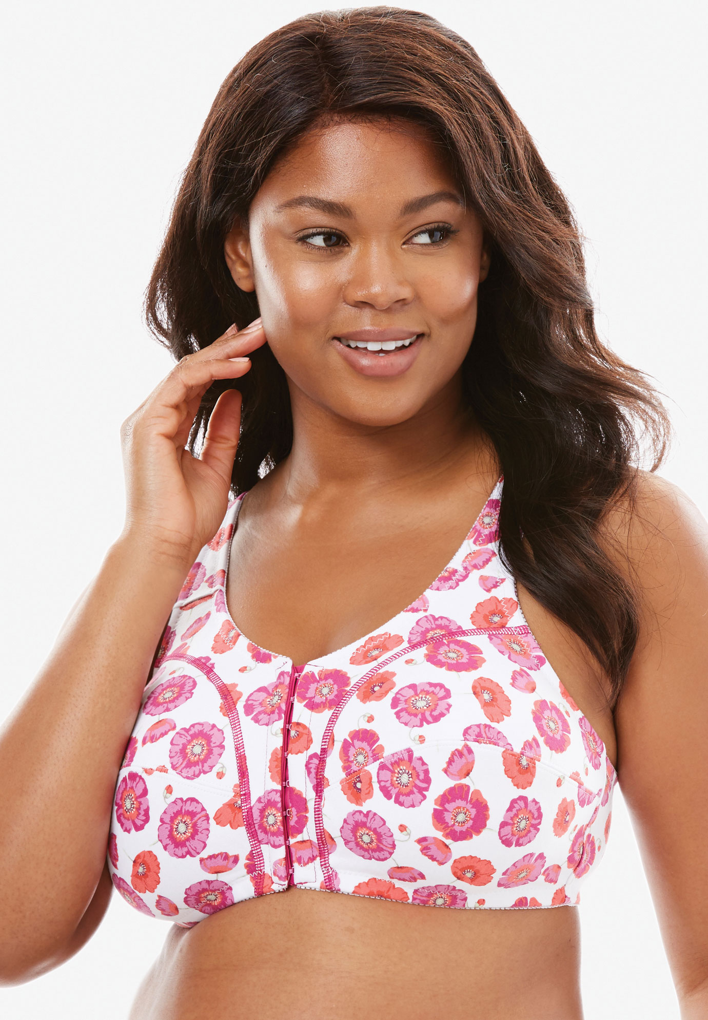 Our best-selling wireless full-coverage leisure bra now in a front-hook by Comfort Choice®, MULTI BERRY FLORAL, hi-res