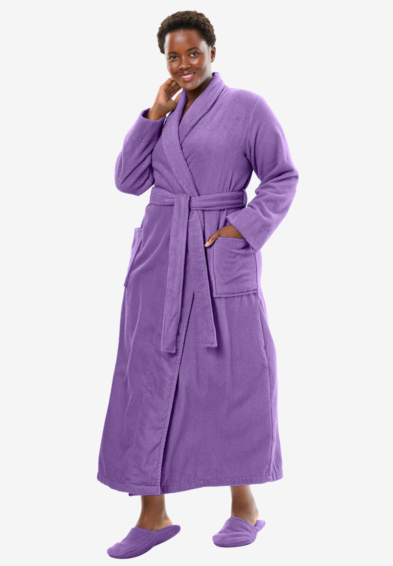 Long terry robe with FREE matching slippers by Dreams & Co®, VIOLET BLOOM, hi-res