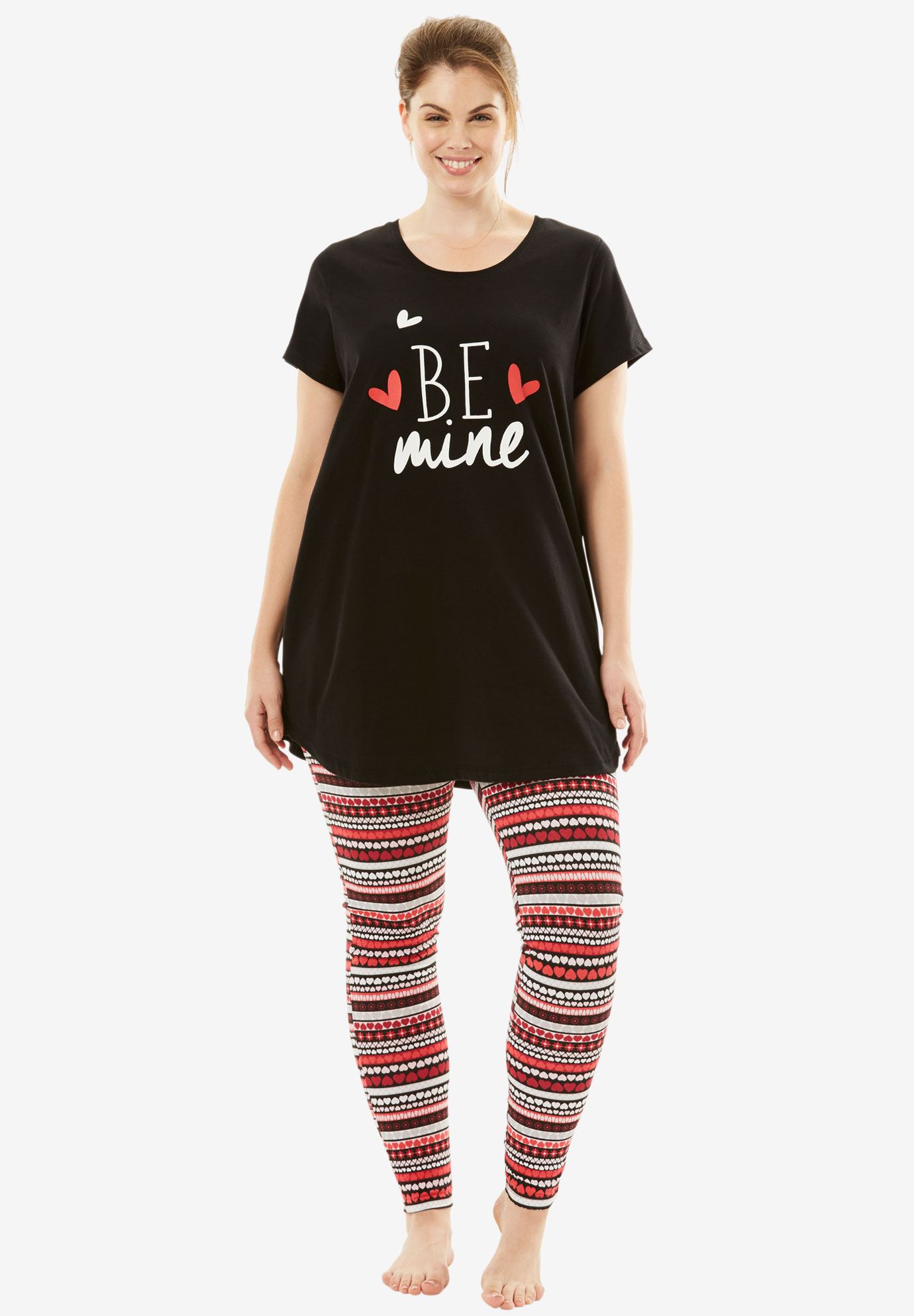 Graphic Tee PJ Set by Dreams & Co.®, BE MINE, hi-res