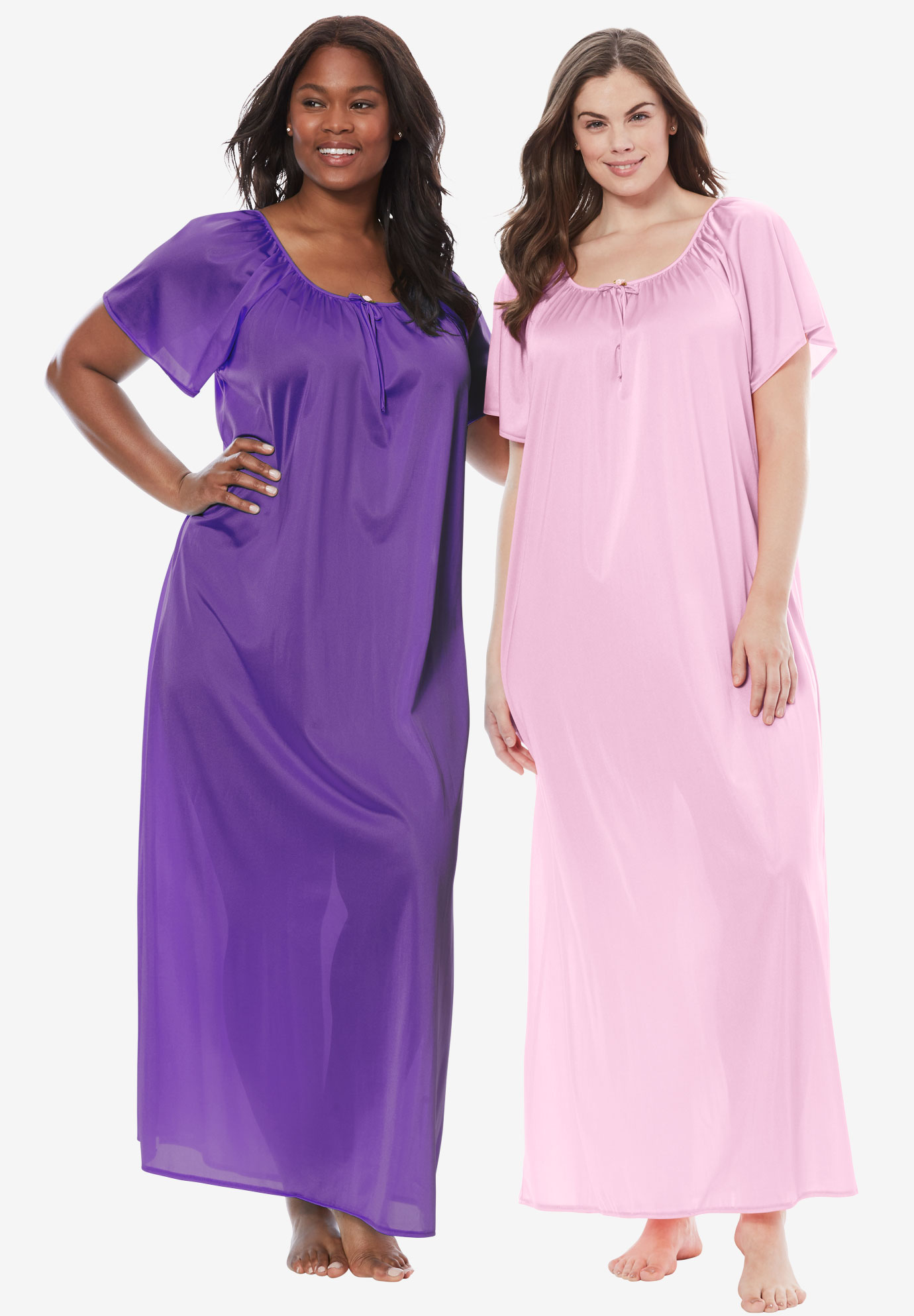 2-Pack Long Nightgown Set by Only Necessities® | Plus Size Clearance ...