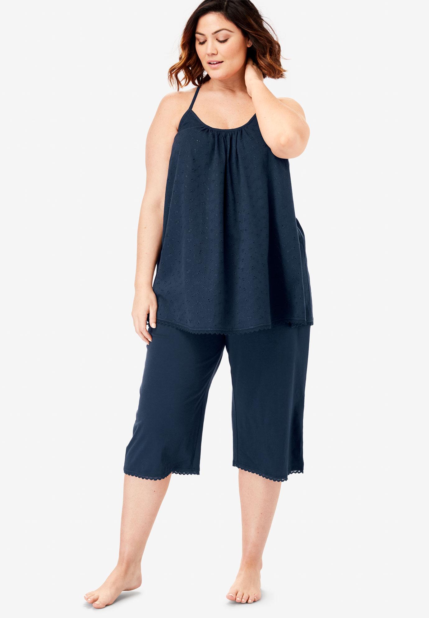 a01fdb017386f Breezy Eyelet Knit Tank & Capri PJ Set by Dreams & Co.®| Plus Size ...
