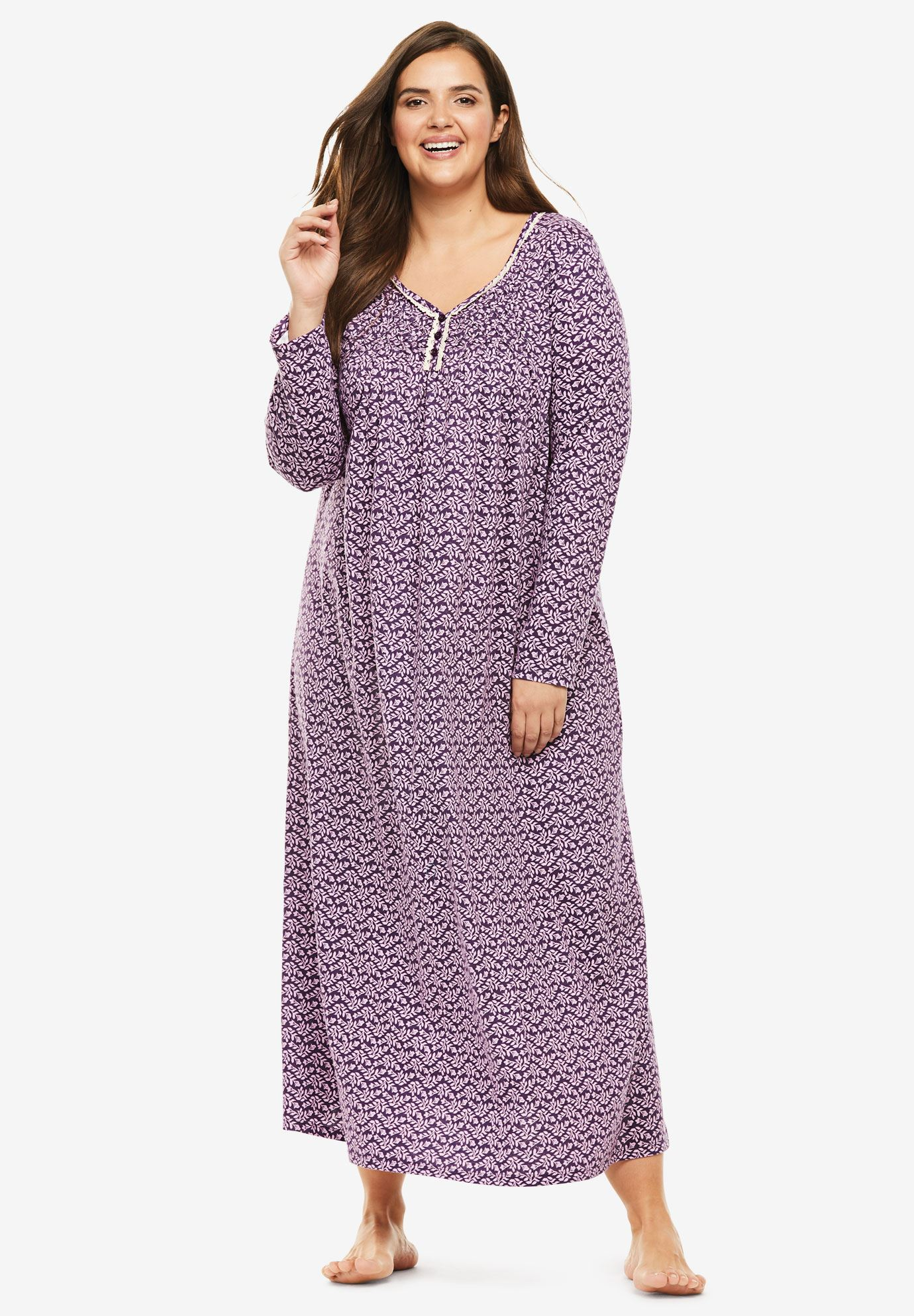 Fit & Flare Sleep Gown | Plus Size Nightgowns | Roaman\'s
