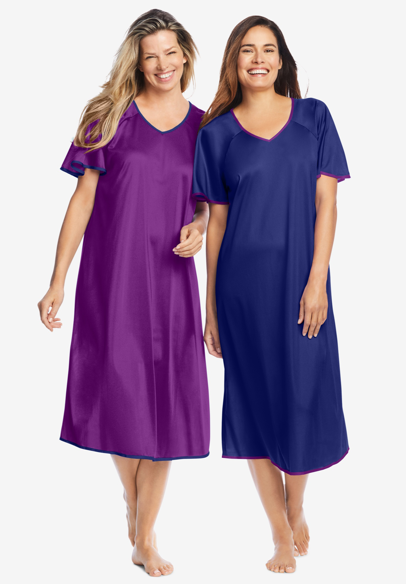 2-Pack Short Silky Gown by Only Necessities®,