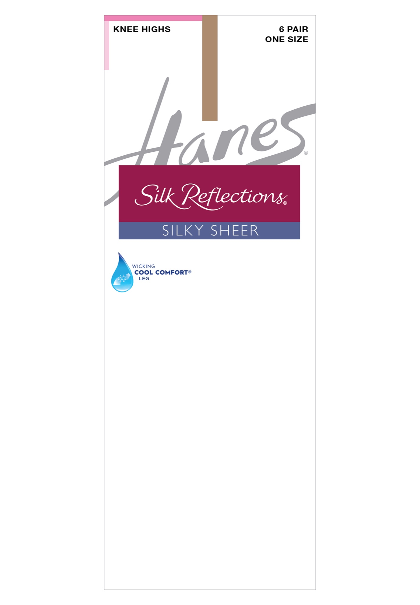 Silk Reflections Knee Highs, Reinforced Toe 6-Pack, BARE