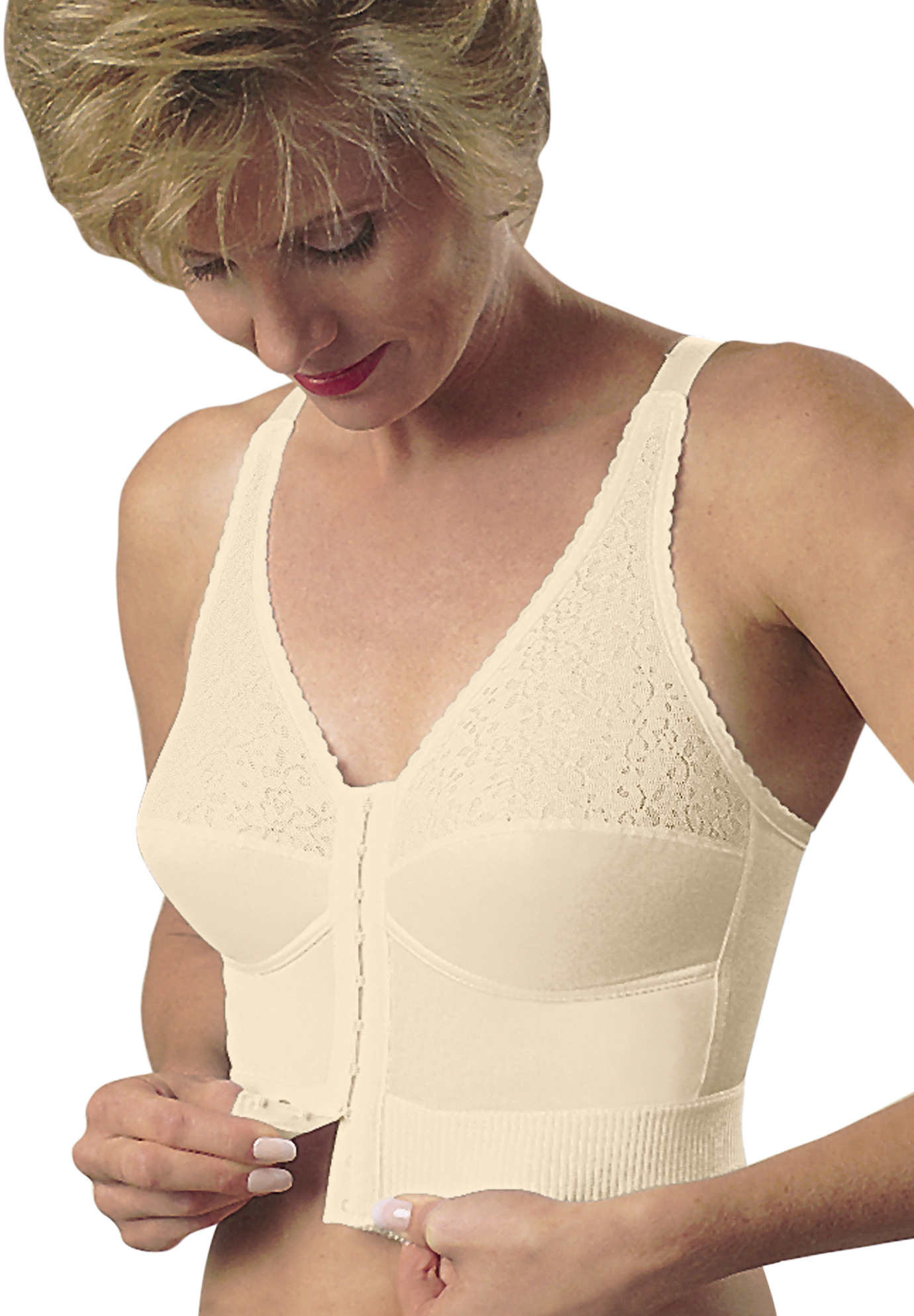 Mastectomy Choice Plus Longline Bra by Jodee , BEIGE, hi-res