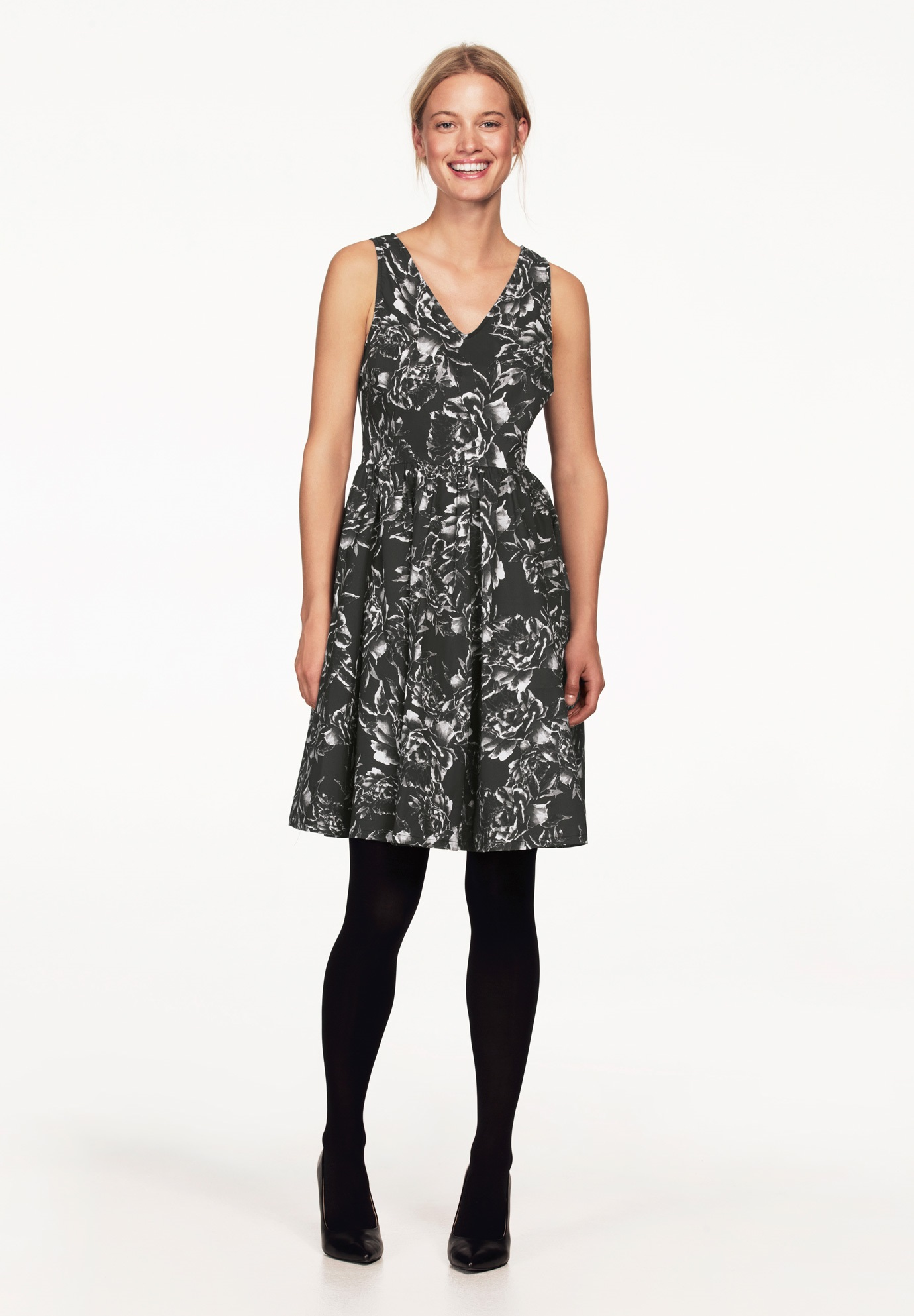 Sleeveless Floral Fit and Flare Dress by ellos®, BLACK FLORAL, hi-res