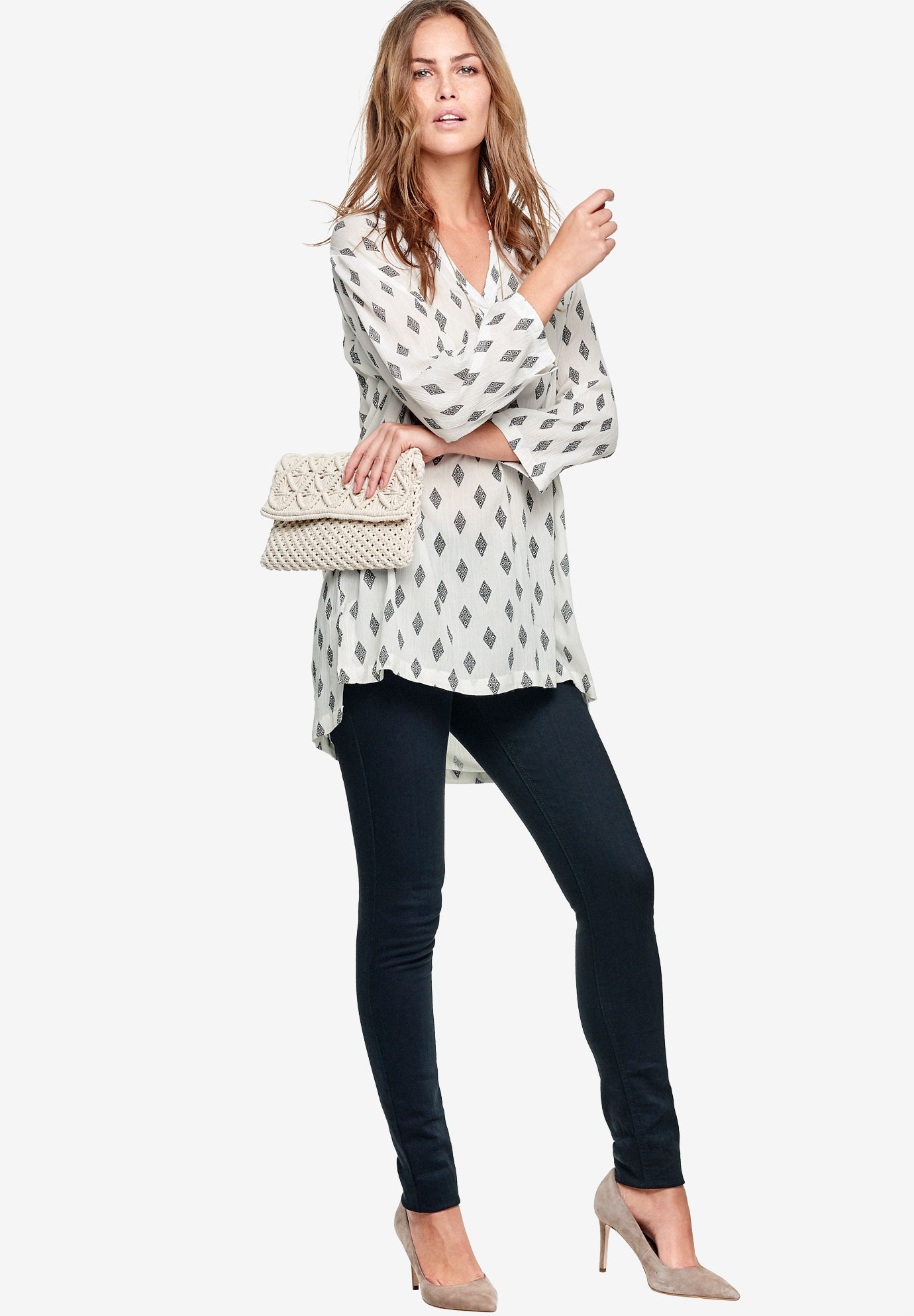 Notch Neck Crinkle Tunic by ellos®, WHITE BLACK PRINT, hi-res