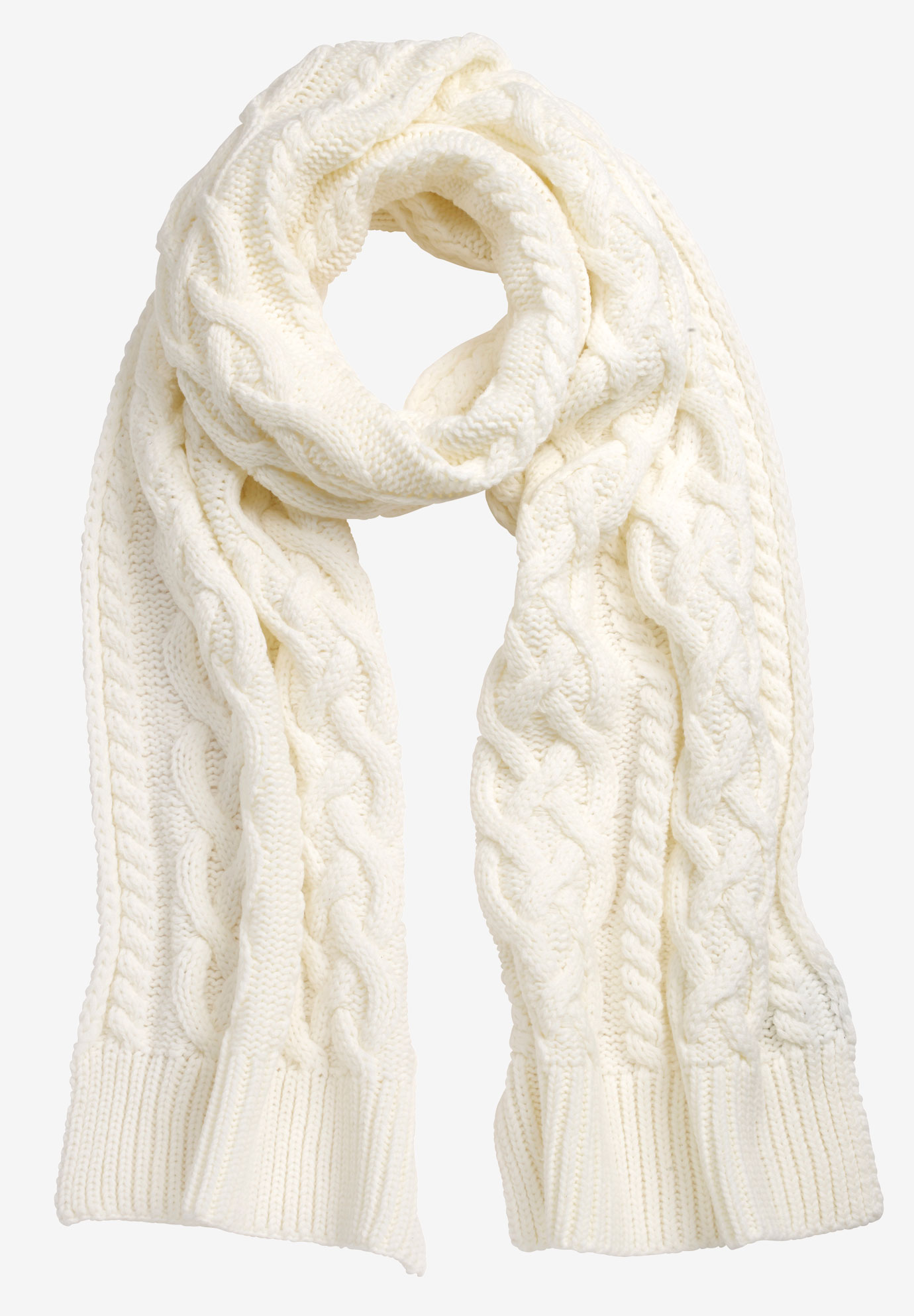 Cable Knit Scarf, IVORY, hi-res