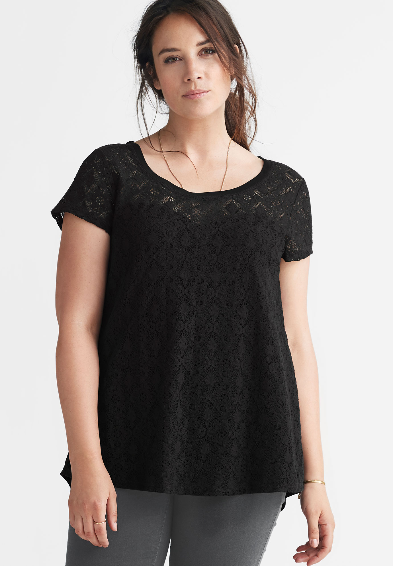 A-Line Lace Front Knit Tee by ellos®,
