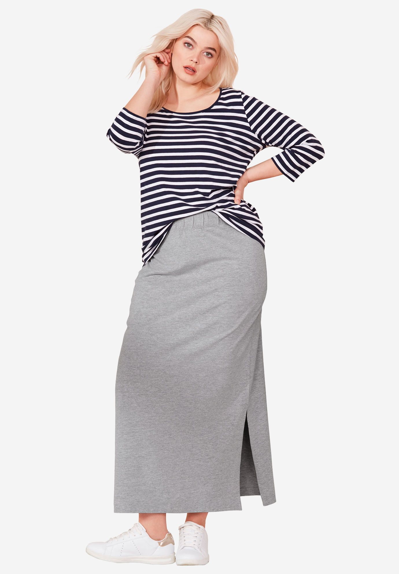 Knit Maxi Skirt by ellos®, HEATHER GREY, hi-res