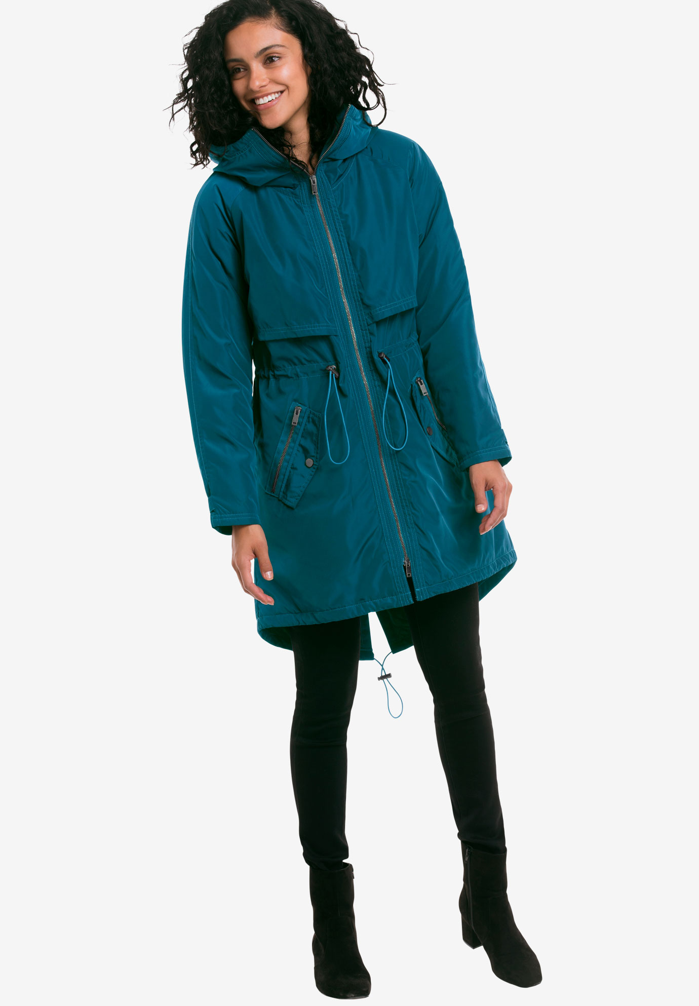 Hooded Zip Front Anorak by ellos®, MIDNIGHT TEAL, hi-res