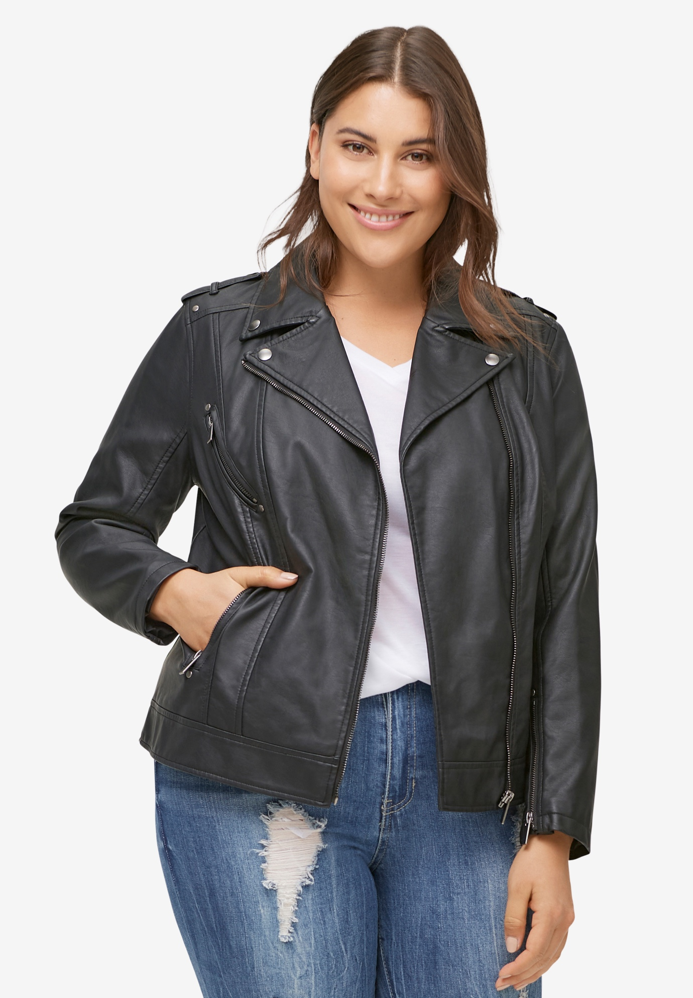 Faux Leather Moto Jacket by ellos®, BLACK, hi-res