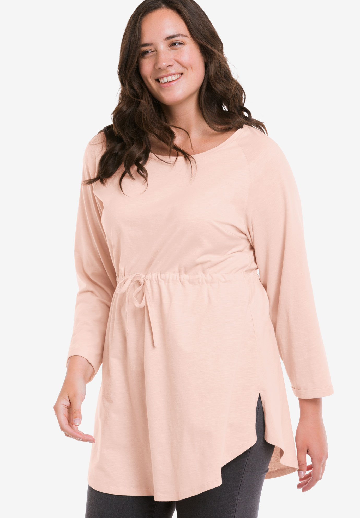 Drawstring Waist 3/4 Sleeve Tunic, ROSY PINK, hi-res
