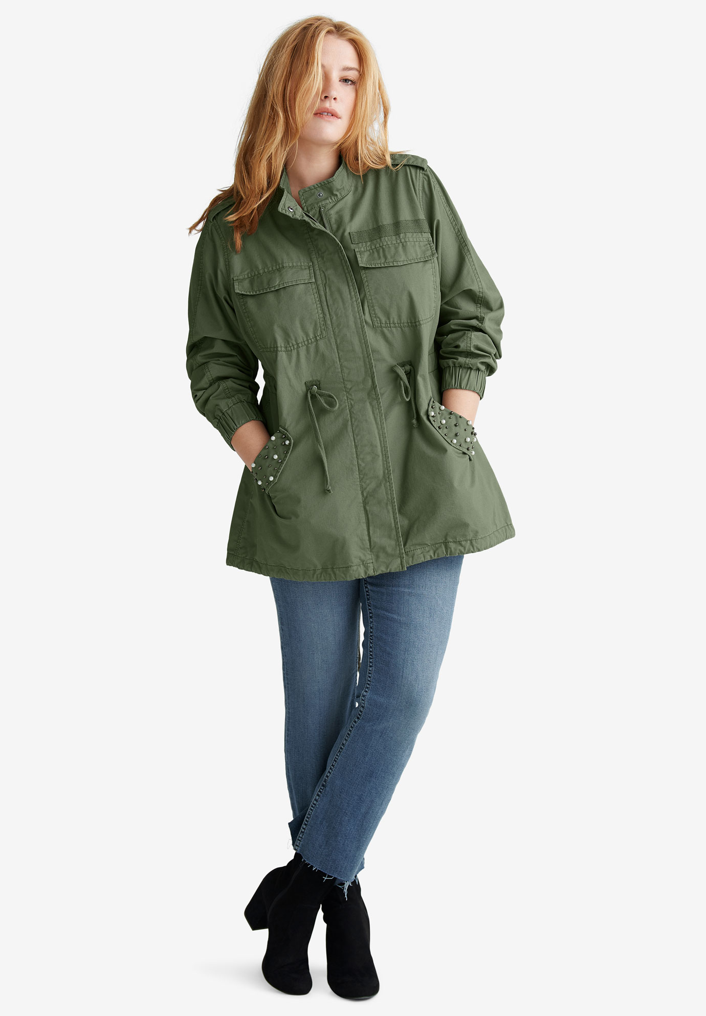 Pearl-Trim Anorak Jacket by ellos®,