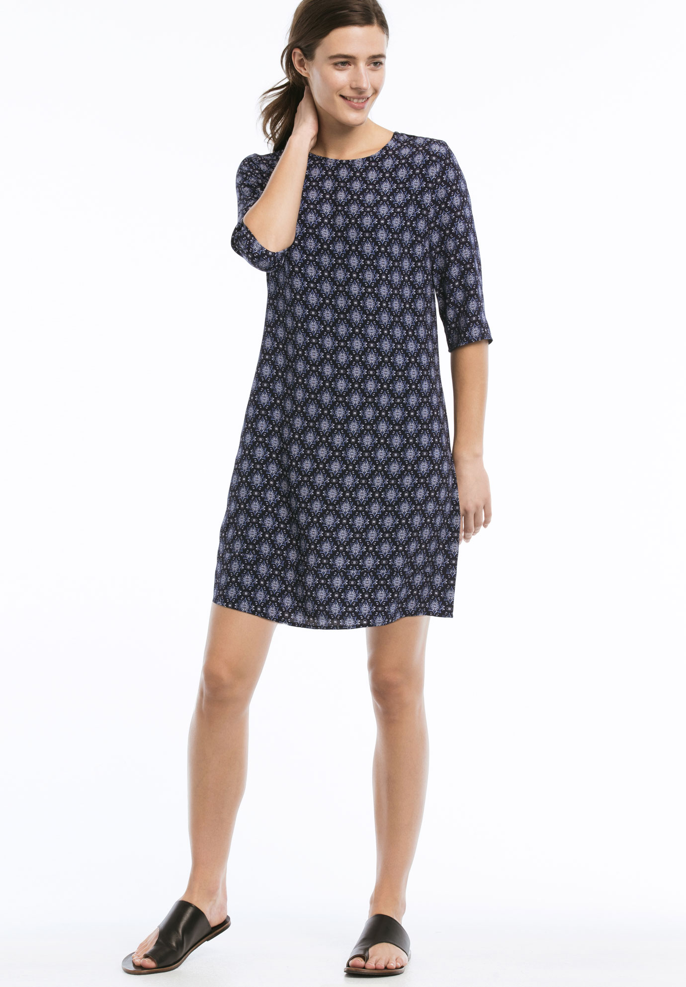 Keyhole Back Shift Dress by ellos®, NAVY PRINT, hi-res