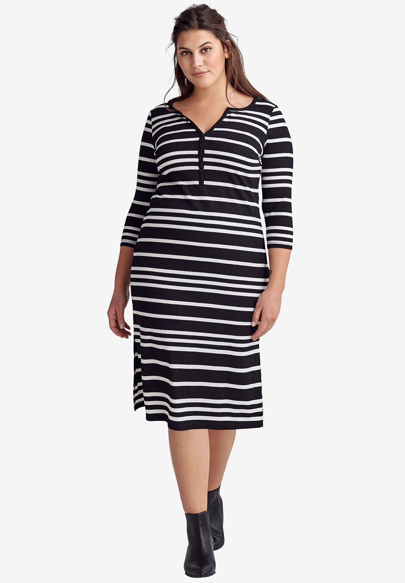 Rib Knit Henley Dress by Ellos®, BLACK WHITE STRIPE, hi-res