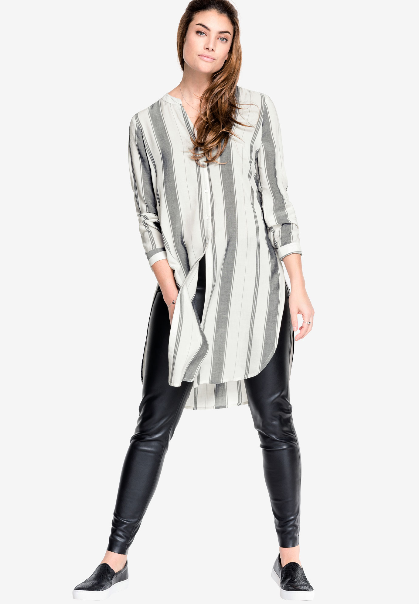 Button-Front Striped Tunic by Ellos®, WHITE DARK CHARCOAL STRIPE, hi-res