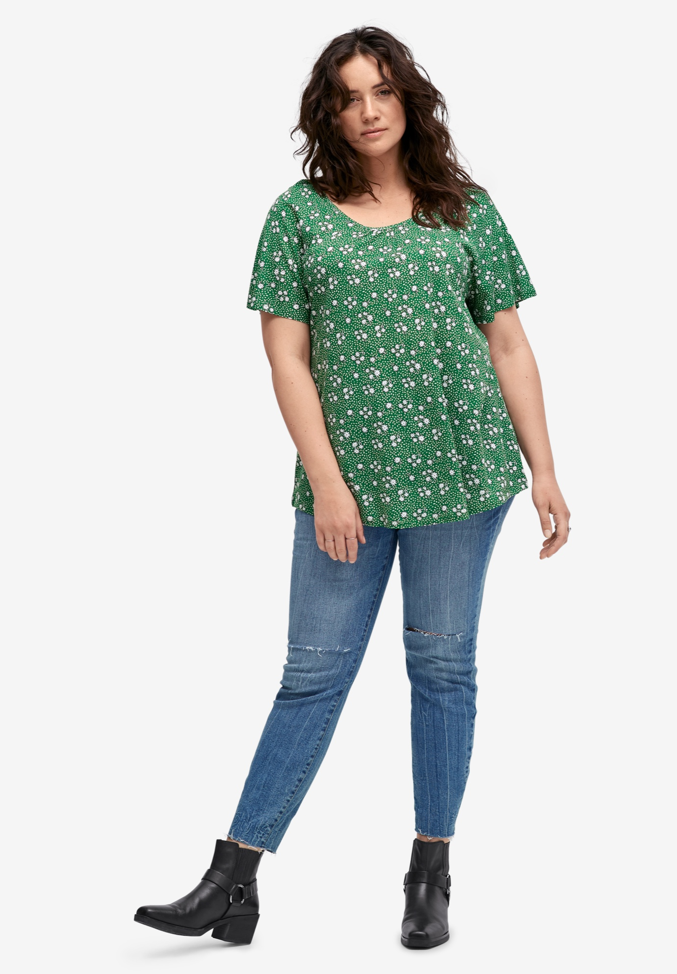 Shirred Scoop Neck Tunic,