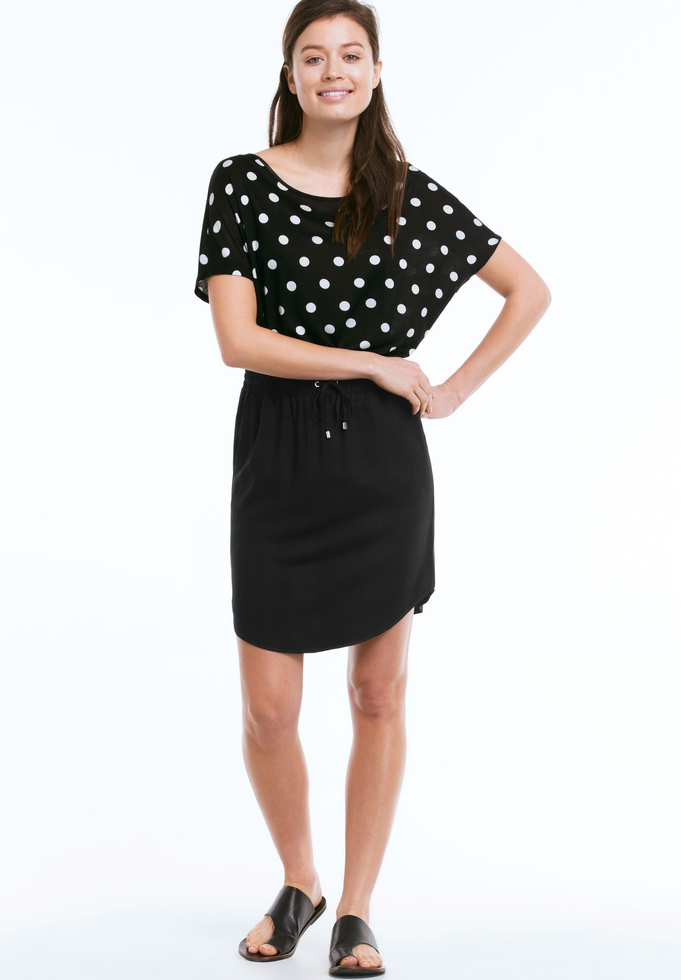 Shirttail Hem Skirt, BLACK, hi-res