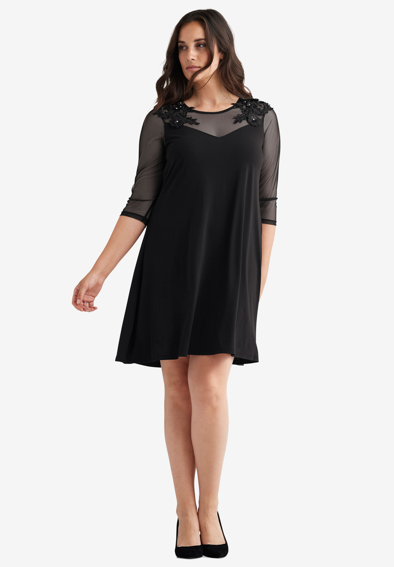 embellished mesh yoke dressellos® plus size dresses
