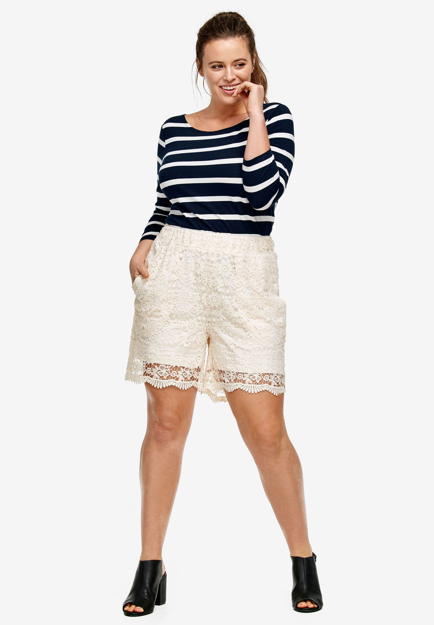 Crochet Lace Shorts by ellos®, IVORY, hi-res