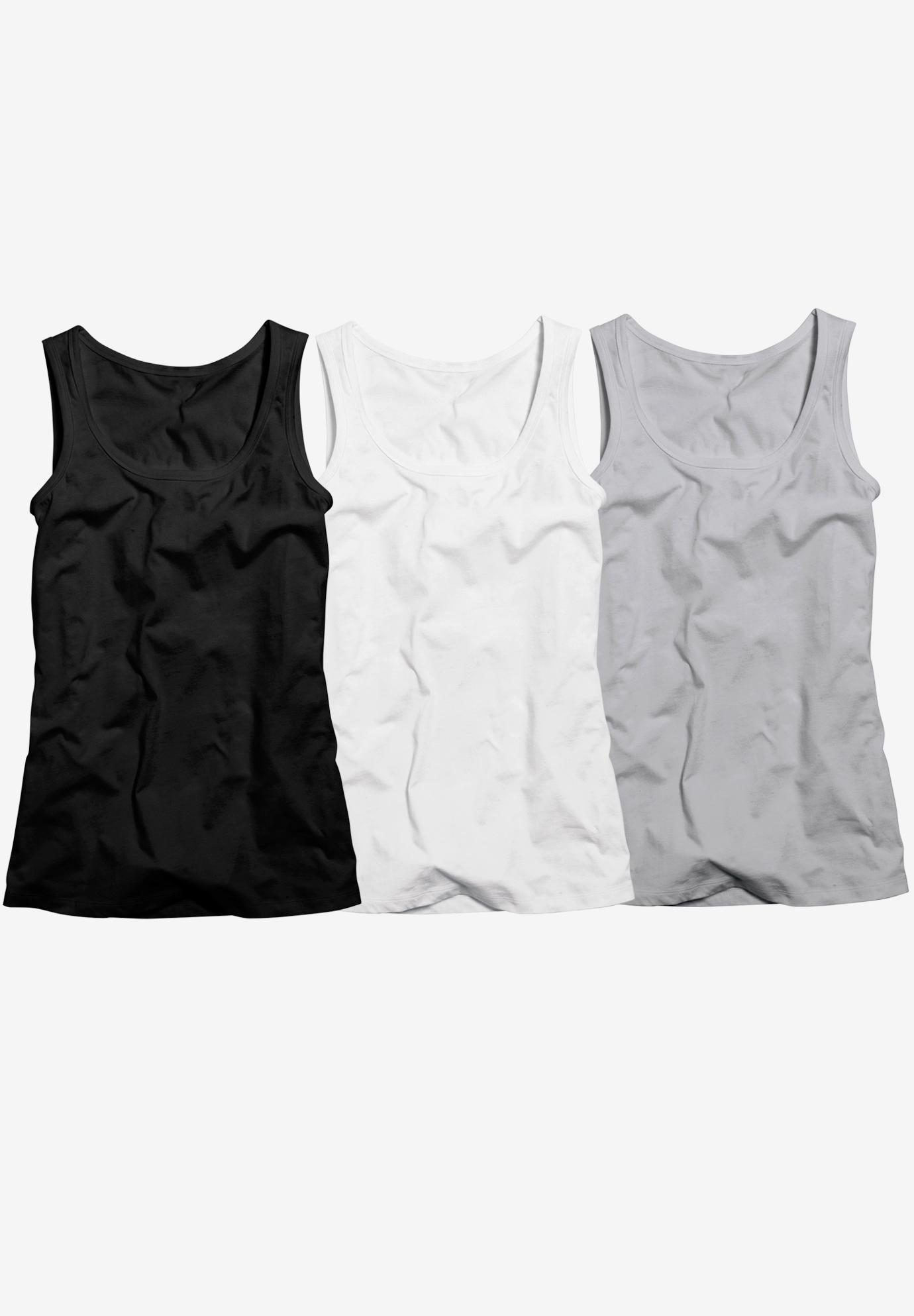 3-pack Sleeveless Tank by ellos®, HEATHER GREY PACK, hi-res
