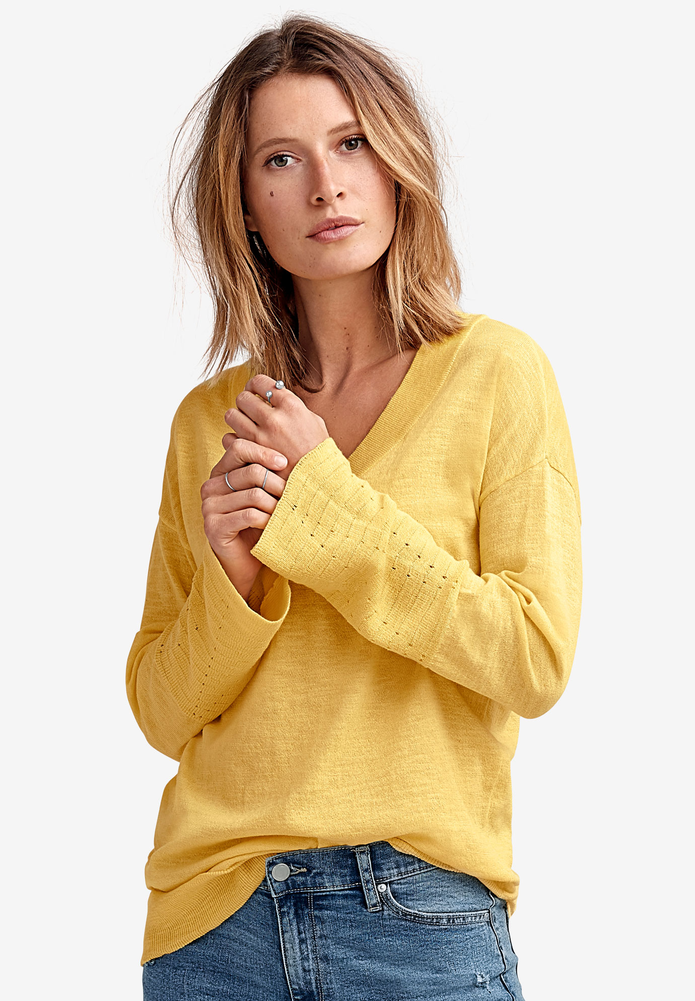 Bell-Sleeve V-Neck Sweater by ellos®,