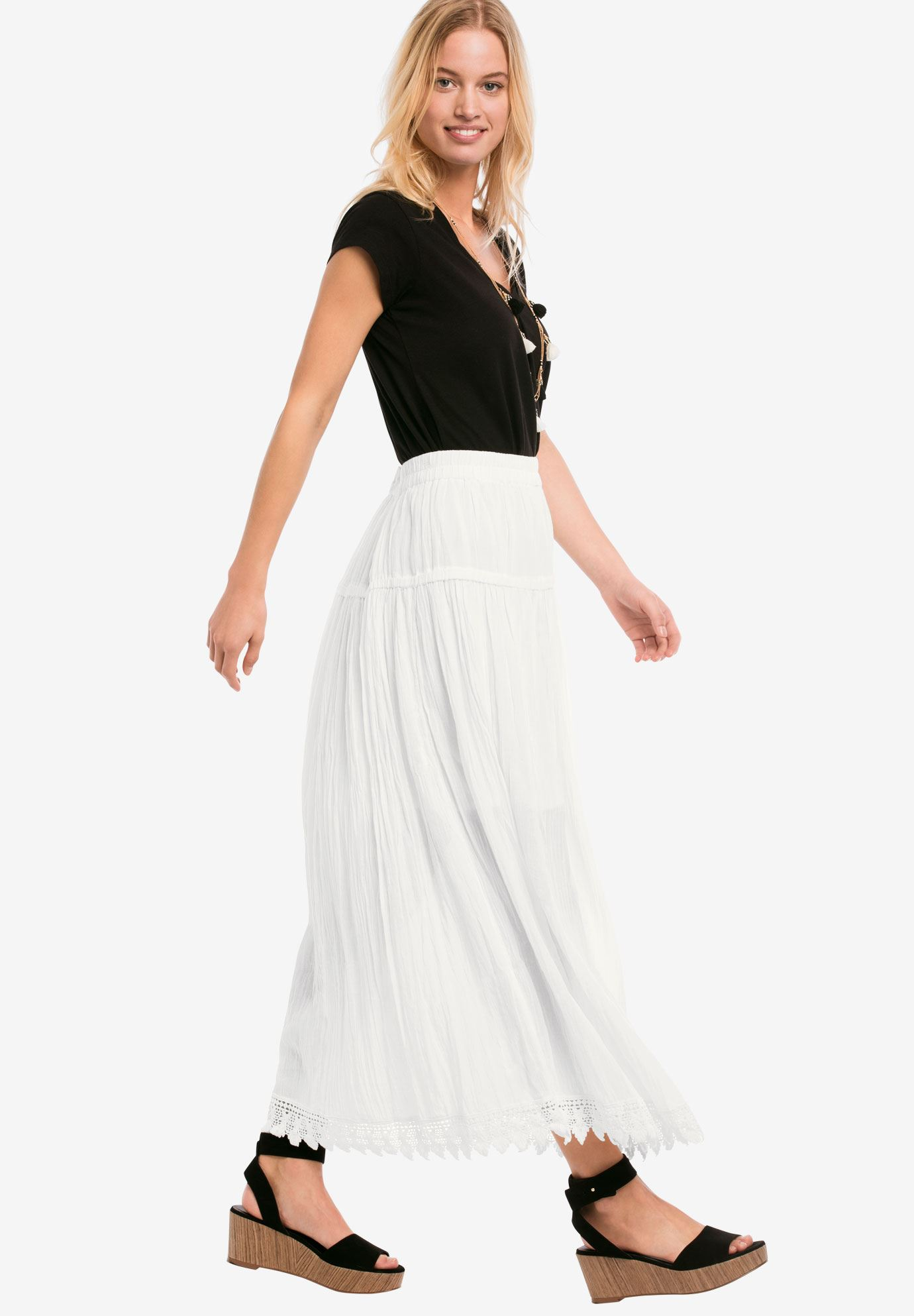 Lace Trim Long Skirt,
