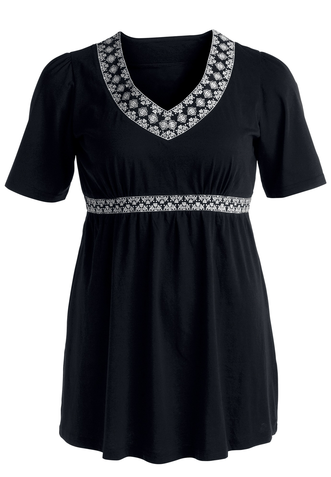 Embroidered Empire Waist Tunic by Ellos®, BLACK, hi-res