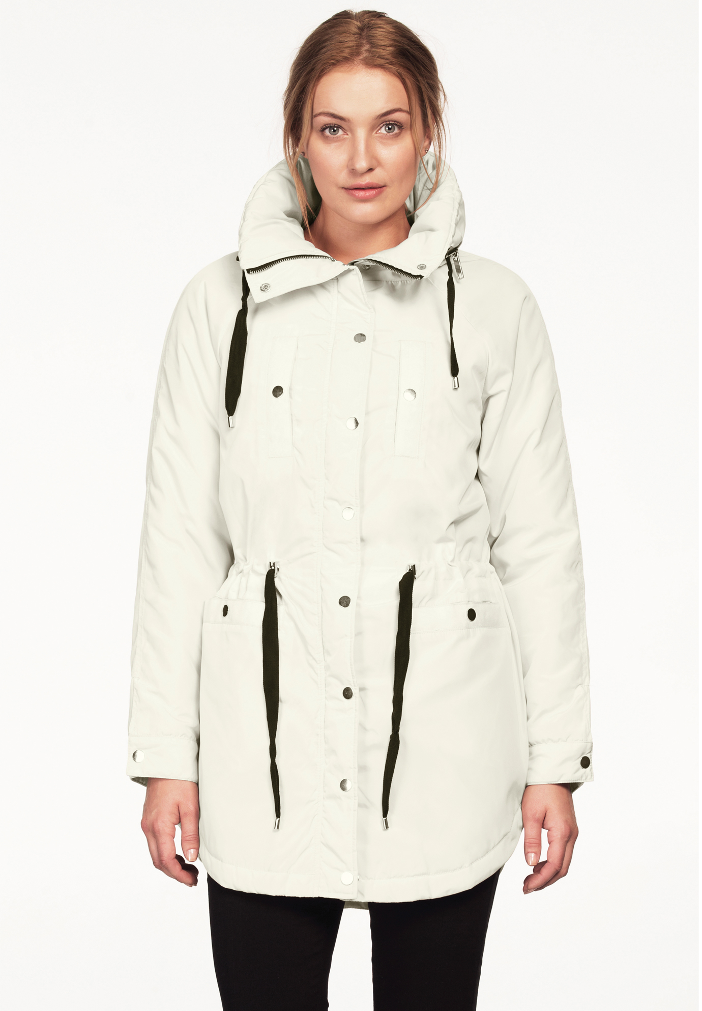 Funnel Neck Snap Anorak by ellos®, IVORY, hi-res