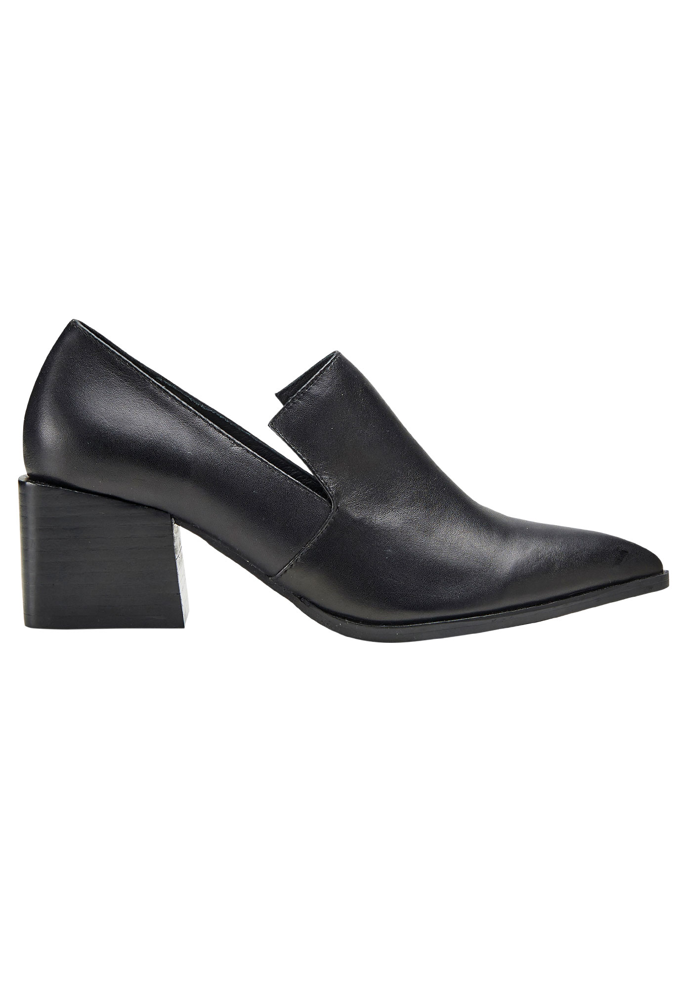 Leather Block Heel Loafer by ellos®,