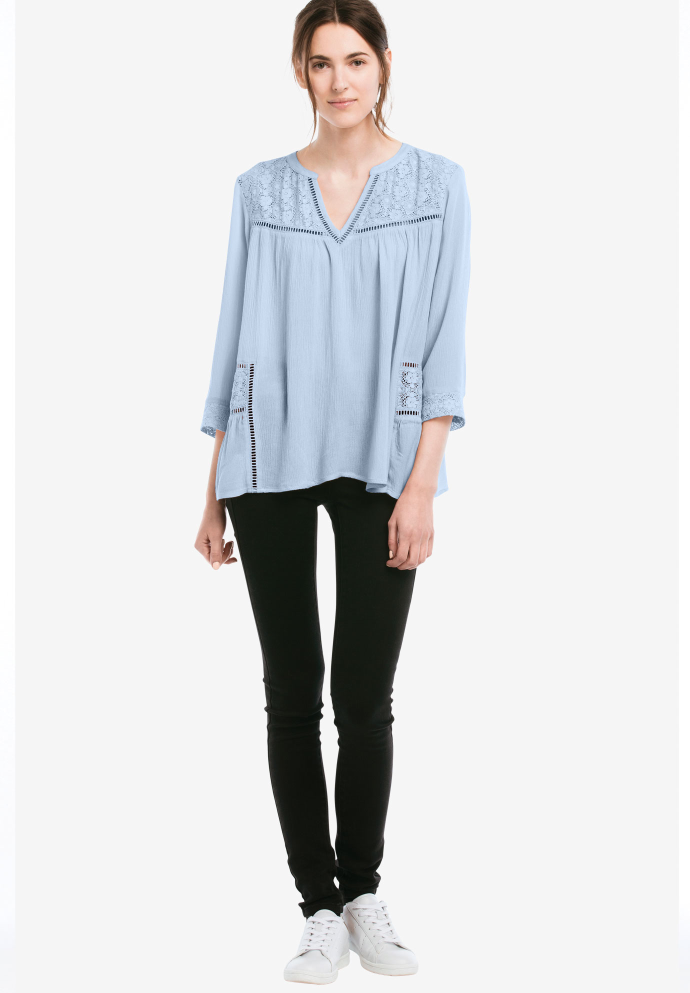 Lace Trim Crinkle Flowy Blouse by ellos®,