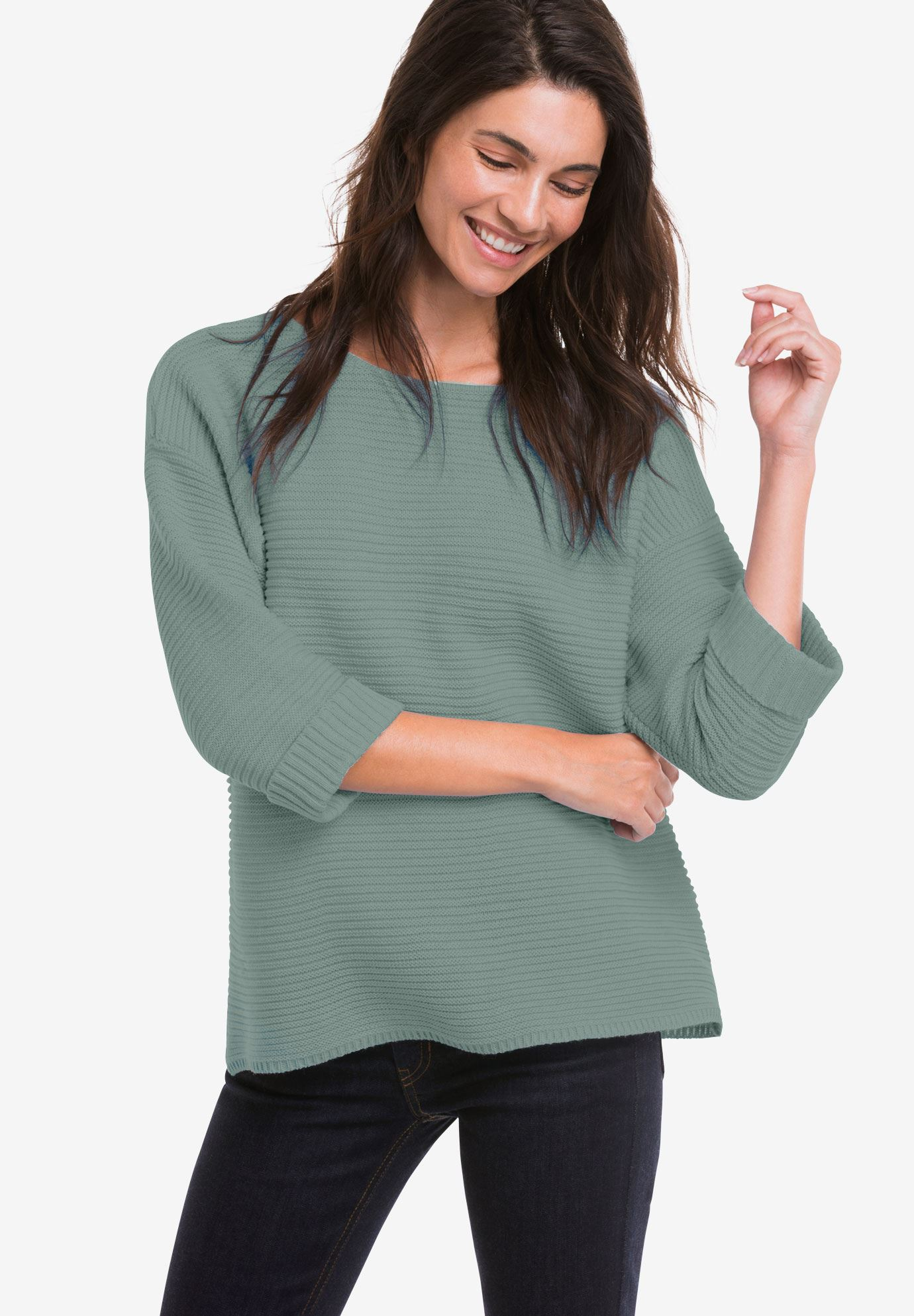 Ribbed Pullover Sweater by ellos®,