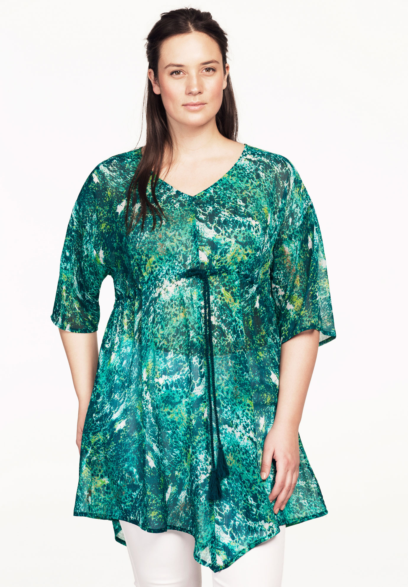 Sheer Printed Tunic by ellos®, EXOTIC PEACOCK, hi-res