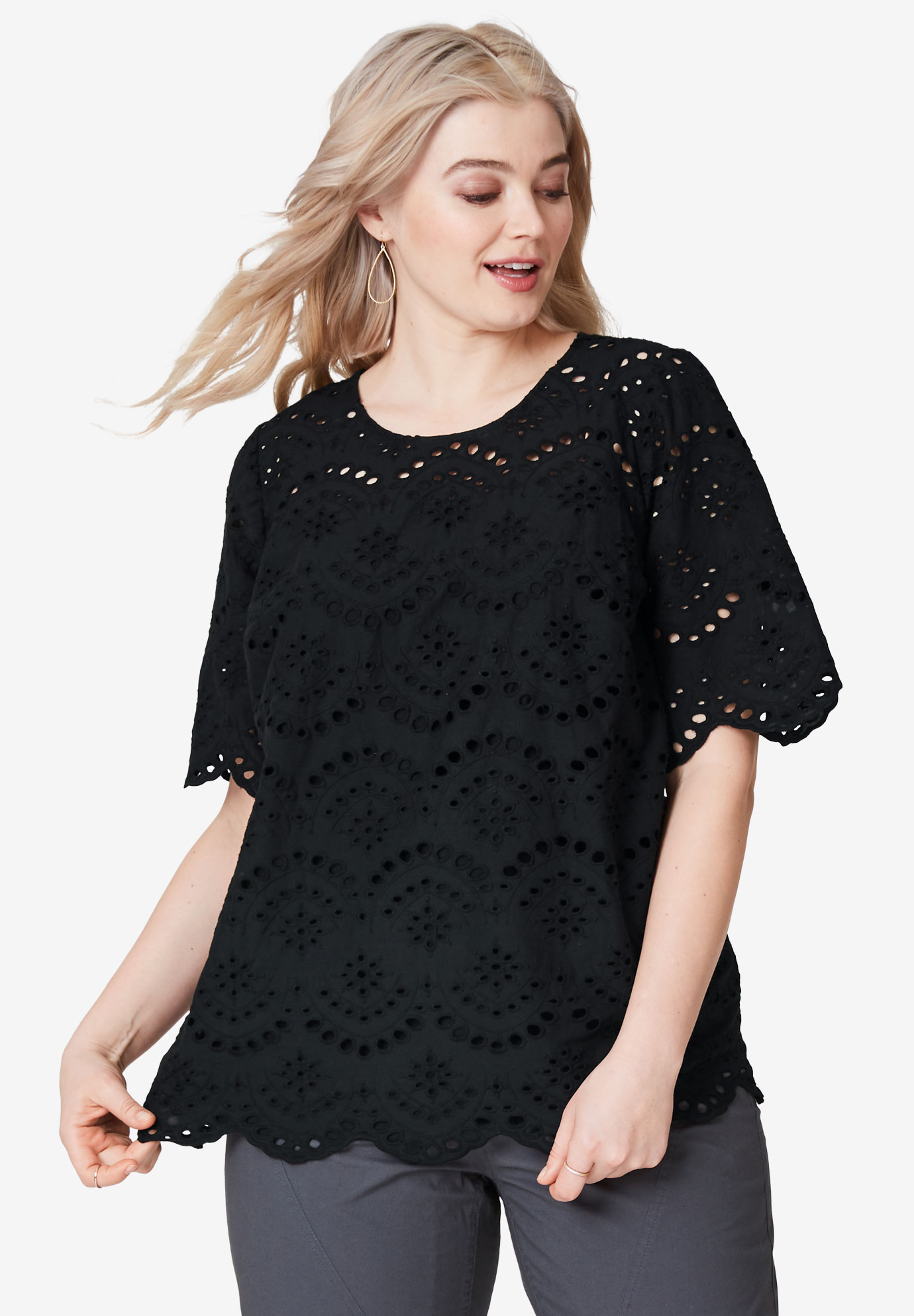 Scalloped Hem Eyelet Blouse by ellos®, BLACK, hi-res
