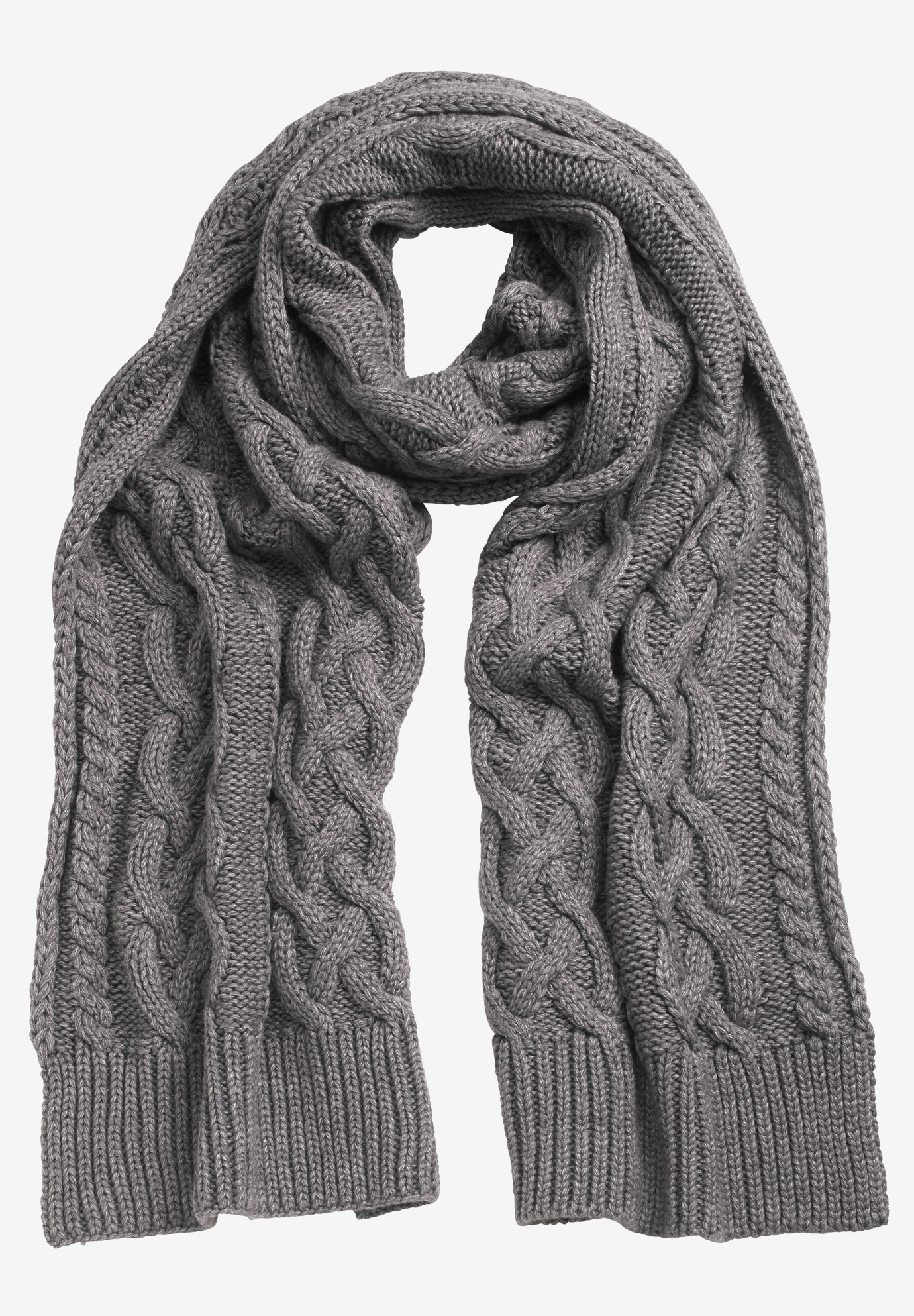 Cable Knit Scarf by ellos®, HEATHER SLATE